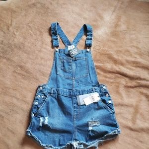 Distressed Overall shorts  size large